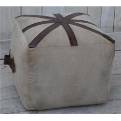 Canvas & Genuine Leather Union Jack Square Cubed Pouffe / Footstool