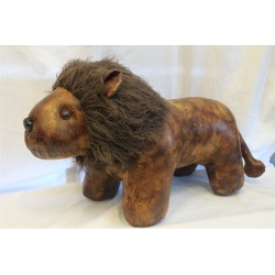 """Large Leather Lion Footstool 16"""" x 14"""""""