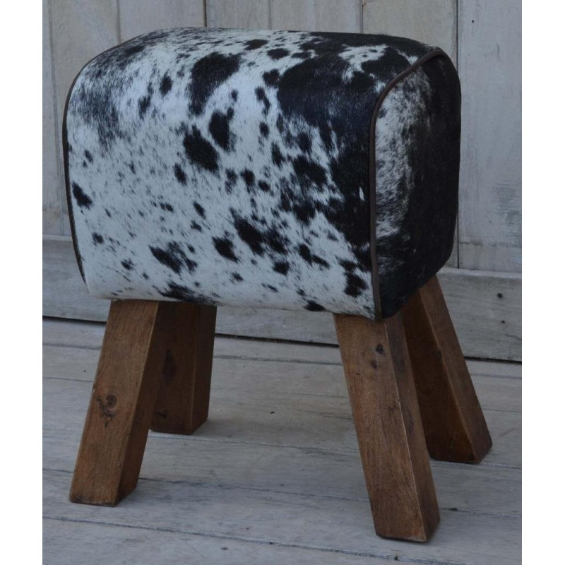 Cowhide Hair On Pommel Horse Style Leather Footstool