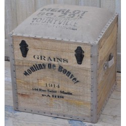 Wooden Trunk with Canvas Seat