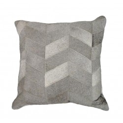 Grey Chevron Genuine Cowhide Leather Cushion