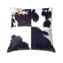 Black/White Cowhide Leather Cushion