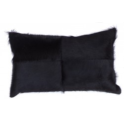 Black Cowhide Leather Cushion