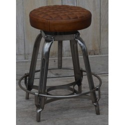 Industrial Style Stool with Quilted Leather Seat