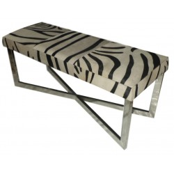 Zebra Stripes Cowhide Leather bench