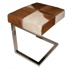 Tan & White Cowhide & Stainless Steel Stool