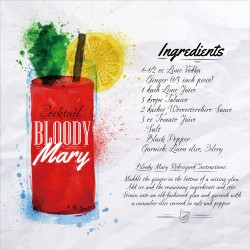 Bloody Mary Cocktail Recipe Tempered Glass Wall Art - 50cm x 50cm