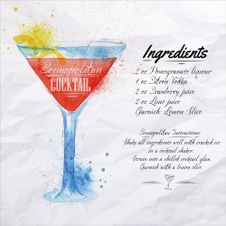 Cosmopolitan Cocktail Recipe Tempered Glass Wall Art Picture - 50cm x 50cm