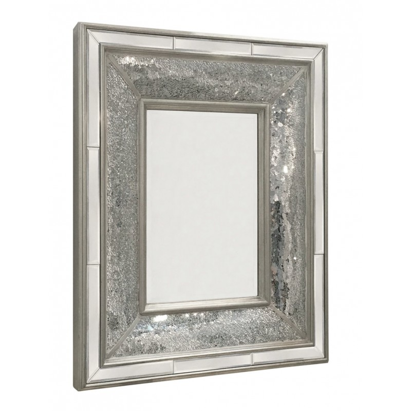 Large rectangular silver mosaic wall mirror blackbrook for Large silver wall mirror