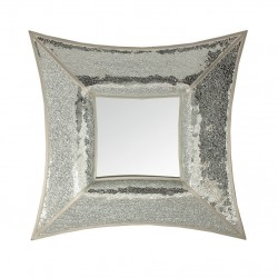 Curved Square Silver Mosaic Wall Mirror