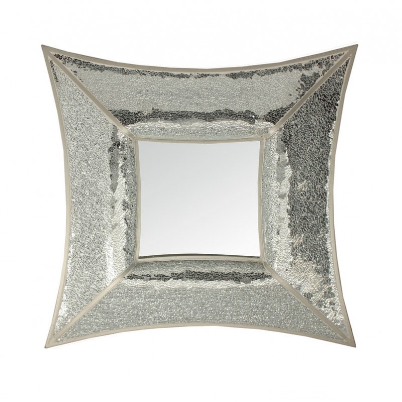 Curved Square Silver Mosaic Wall Mirror Blackbrook Interiors