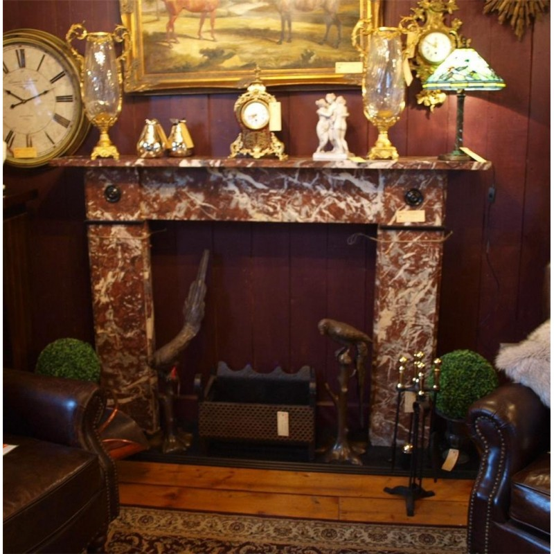 Victorian 19th Century Rouge Marble Chimneypiece Fireplace