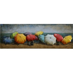 Beach Umbrellas 3D Metal Wall Art