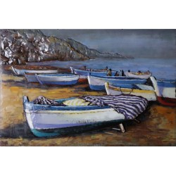 Seaside Boats 3D Metal Wall Art