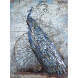 Peacock and Penny Farthing 3D Metal Wall Art