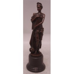 Classical Bronze Lady Sculpture with Solid Marble Base