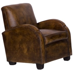 'Cigarro' Art Deco Style Leather Club Armchair