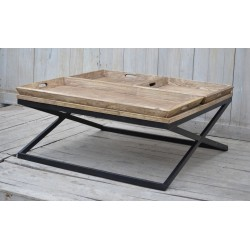 Wooden Coffee Table with Trays