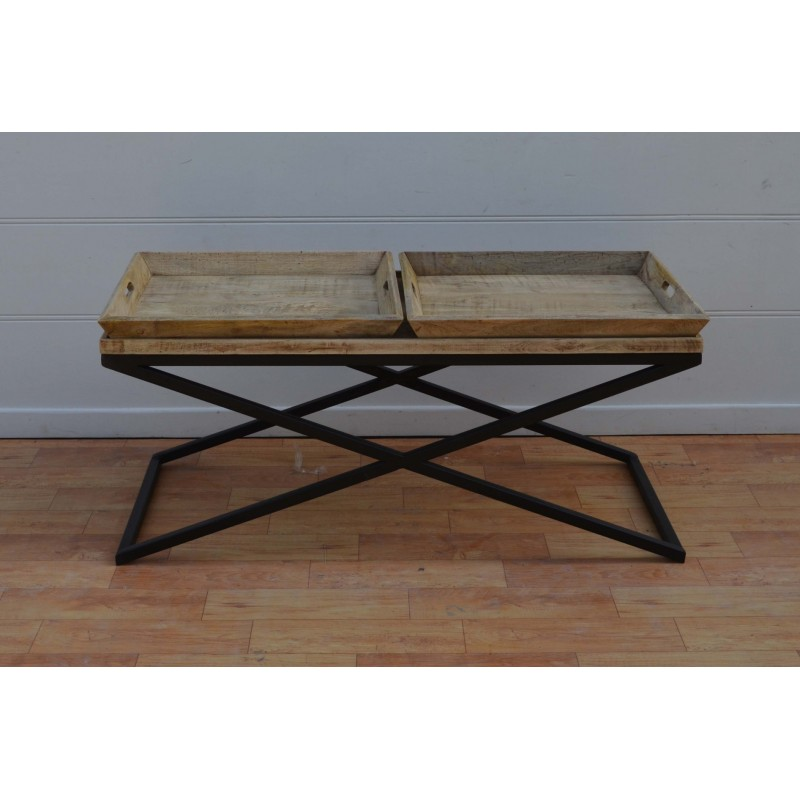 Wooden Coffee Table With Removable Trays Blackbrook Interiors