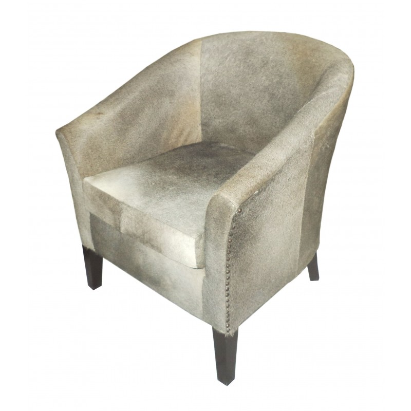 Cowhide Leather Tub Chair Grey Blackbrook Interiors