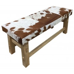 Cowhide Leather Bench with Wooden Legs - Tan/White