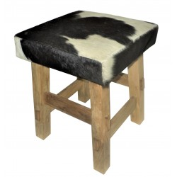 Cowhide Leather Stool with Wooden Legs - Black/White