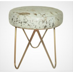 Cowhide & Metal Stool - White/Gold