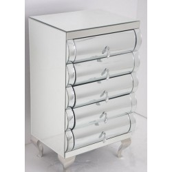 Mirrored Glass Five Drawer Chest