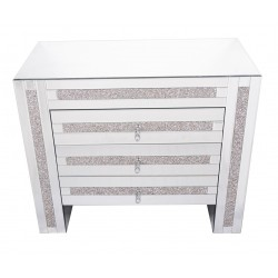 Mirrored Glass Three Drawer Chest