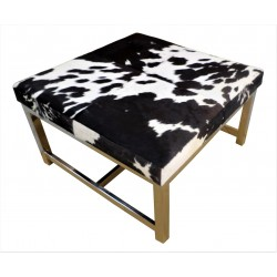 Cowhide Table with Stainless Steel Legs Black/White