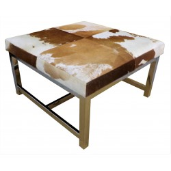 Cowhide Table with Stainless Steel Legs Tan/White