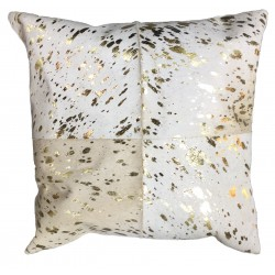 Cowhide Leather Cushion - White/Gold