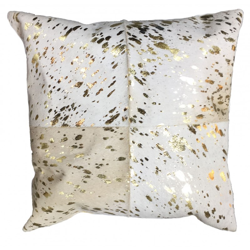 Cowhide Leather Cushion White Gold Blackbrook Interiors
