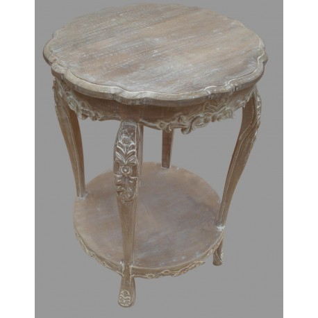 French Style Mango Wood Round Table   Natural / Antique