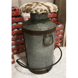Vintage Recycled Milk Churn Bar Stool with Cowhide Leather Top