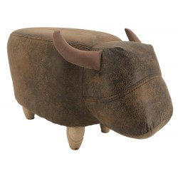 Faux Leather / Suede Bull Footstool - Vintage Brown