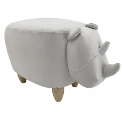 Faux Leather / Suede Rhino Footstool - White