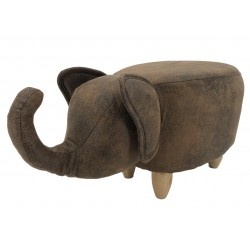Faux Leather / Suede Elephant Footstool - Brown