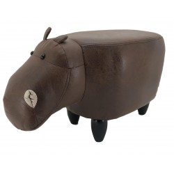 Faux Leather / Suede Hippo Footstool - Vintage Brown