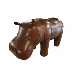 Large Handmade Leather Hippo Footstool