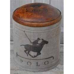 Polo Horse Leather & Canvas Stool / Pouffe / Footstool