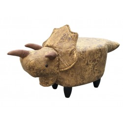 Faux Leather / Suede Triceratops Footstool - Brown/Yellow