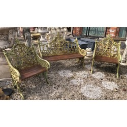 Cast Iron Bench and Two Chairs Set
