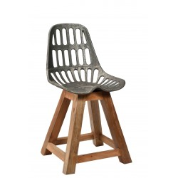 Iron Chair with Wooden Legs