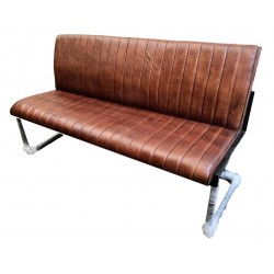 Brown Leather Dining Bench - Iron Legs