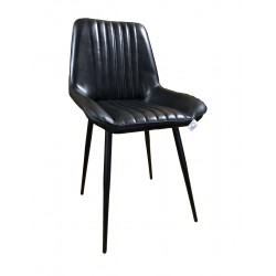 Black Leather Dining Chair - Iron Legs