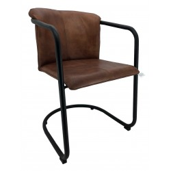 Brown Leather Dining Chair - Iron Legs