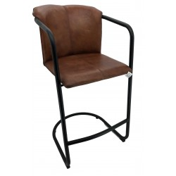 Brown Leather Dining Barstool - Iron Legs
