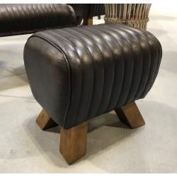 Black Leather Stool / Footstool / Sidestool - Pommel Horse