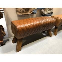 Genuine Leather Bench Pommel Horse Style - Wooden Feet